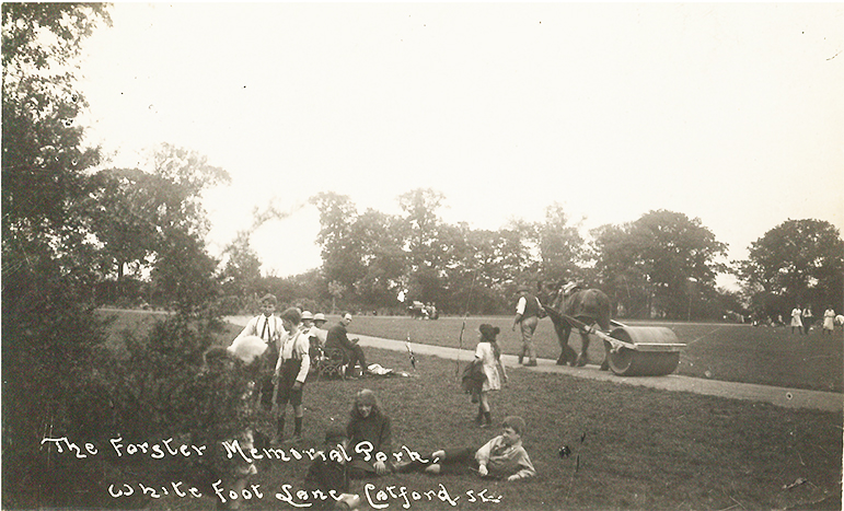 Forster Memorial Park in the 1920s with families, horse and heavy roller