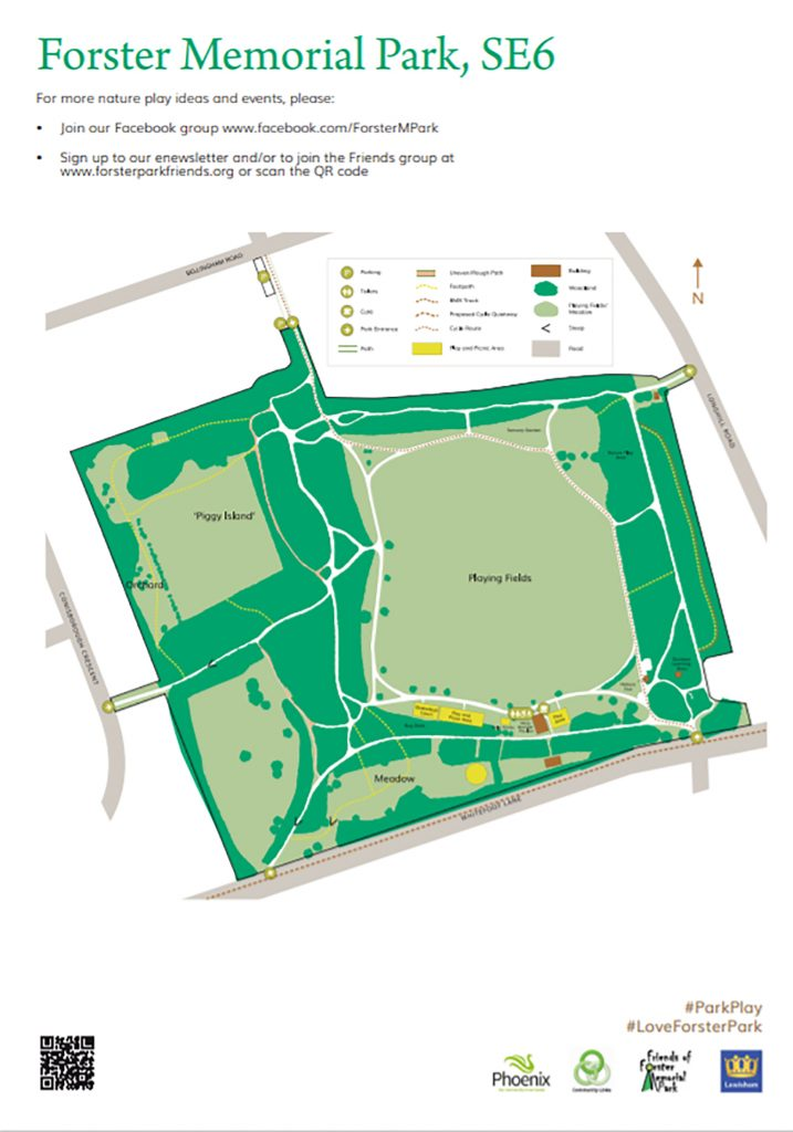 A map of Forster Memorial Park